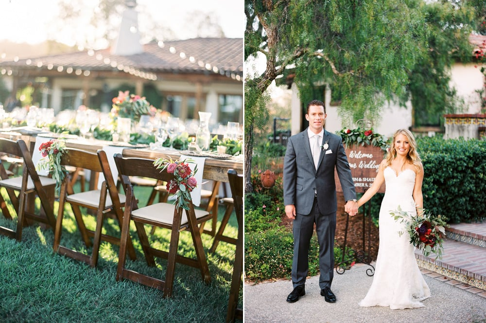 Floral details on the newlyweds chairs