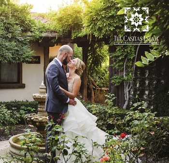 Couple in the Casitas Estate Courtyard. Link to online brochure.